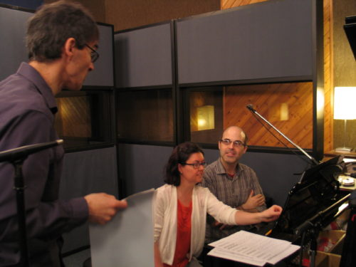 Frank Horvat, Lisa Raposa and Greg Millar recording Piano Piece No. 4 for the Me to We album at Canterbury Studios May 12 2016