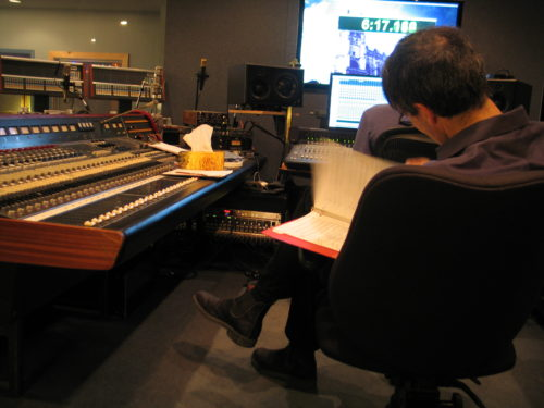 Frank Horvat and Julian Decorte editing album Me to We at Canterbury Studios