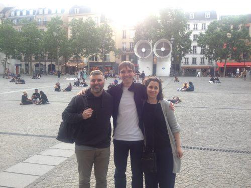 John Farah, Frank Horvat, Lisa Horvat outside the Pompidou