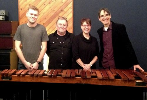 Julian Decorte, Jeremy Darby, Beverley Johnston, Frank Horvat at Canterbury Music Co.